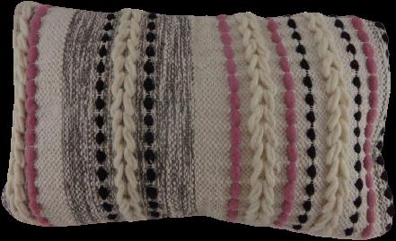 Katoenen Kussen Creme/Zwart/Roze