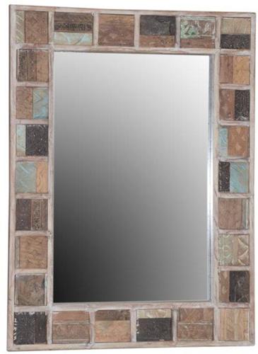 Houten Geblokte Spiegel
